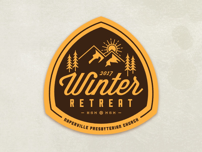 Winter Retreat typography mountain logo retreat winter badge
