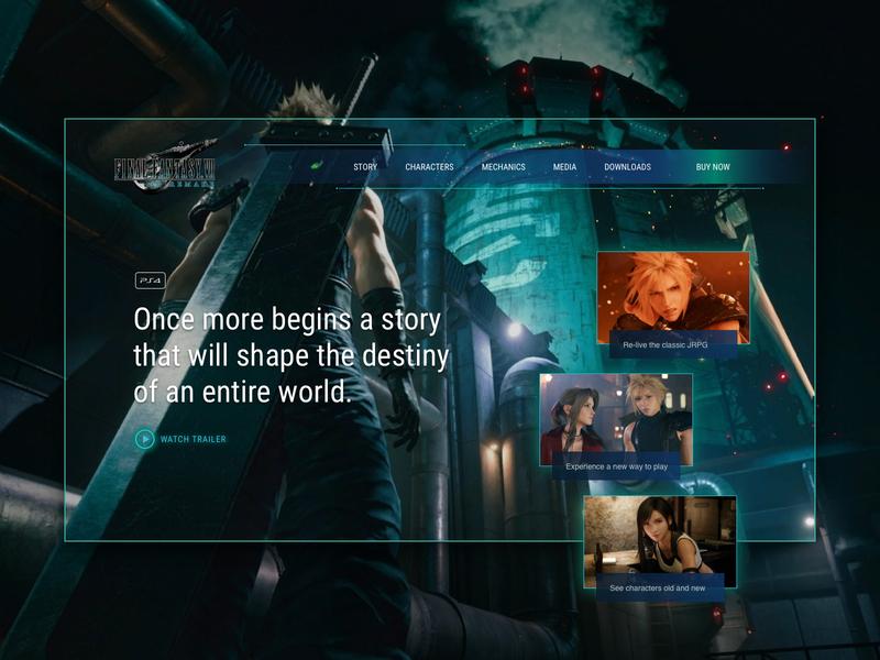 Final Fantasy 7 Remake concept website game inspiration videogame final fantasy ui design web portfolio web design aesthetic