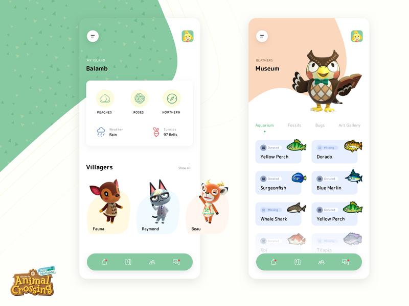 Animal Crossing app videogame product design minimal inspiration clean ui portfolio design aesthetic