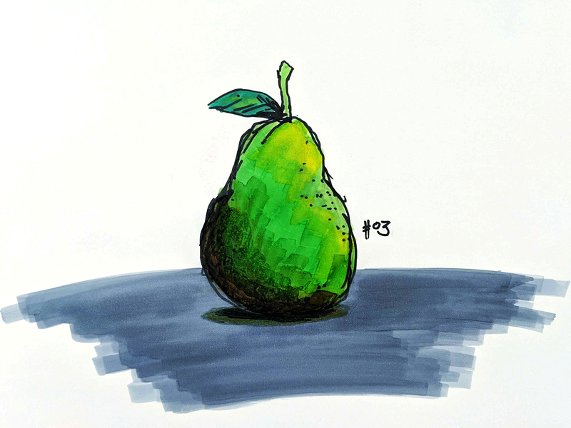 Apple traditional fruit pear drawing marker