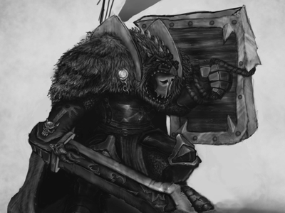 Sir warrior mantle shield sword evil demon chaos warrior