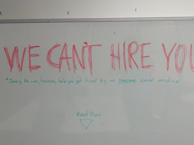 WE CAN'T HIRE YOU landing page we cant hire you page landing media social campaign ad recruitment
