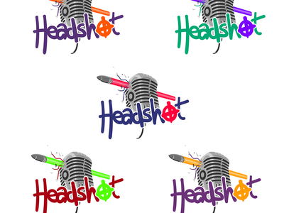 Headshot podcast logo microphone mic colour shirts shirt vector gaming podcast headshot logo