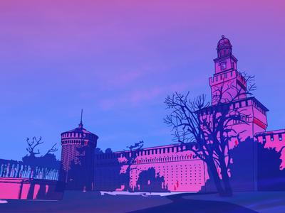 Milano Castle vector illustration sunset twilight castle milano