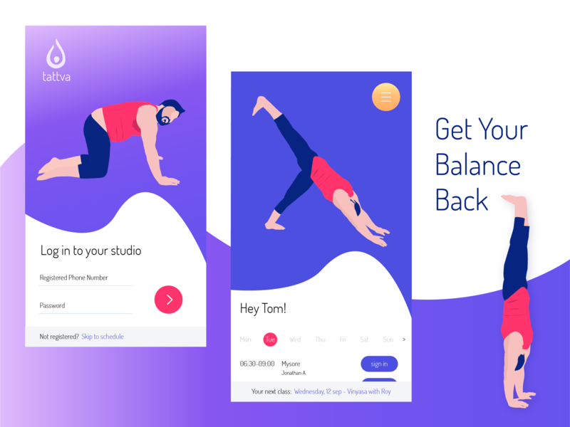 Tattva Yoga - Members app schedule login mobile app phone design branding yoga vector ux mobile app flat ui illustration