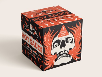 Early Death / Hot Sauce drawing illustration trade mark box design early death fire food packaging design flavor carolina reaper ghost pepper habanero branding hot sauce death pepper chilli roster package design skull