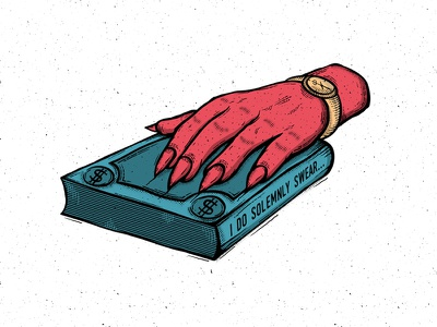I DO SOLEMNLY SWEAR... president oath dollar devil hand propaganda politics money oath swear grapgicdesign vectorart illustration sticker