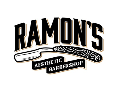 Ramon's Aesthetic Barbershop graphicdesign typography logo illustration shaver shave handdraw aesthetic black and gold straight razor barbershop