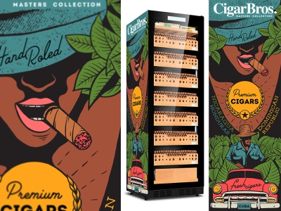 Cigar humidor  design tobacco cigar fridge humidor hand roled cigars cohiba oldtimer nicaragua honduras dominican republic cuban hand drawn cigar bros illustration smoking cigar