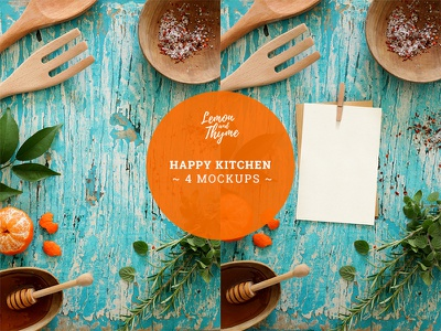HAPPY KITCHEN spices food mock-up mockup italian mexican empty card wooden surface rustic foodies kitchen psd