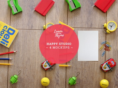 HAPPY STUDIO primary colors psd studio toys wooden surface empty card desktop accessories mockup colored pencils android usb yellow clock tin car