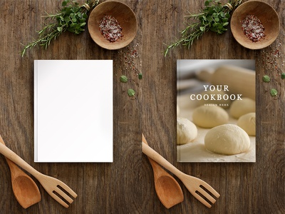 COOKBOOK MOCKUP rustic food mockup book cover countryside cookbook recipe book instant download wooden surface hard cover kitchen psd