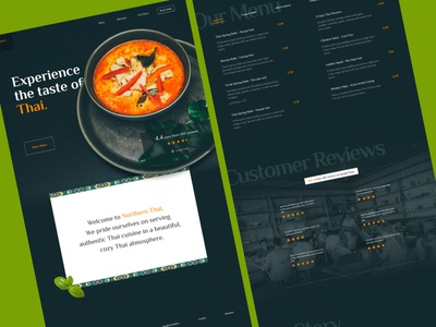 Thai Restaurant Landing Page menu food thai web landing page restaurant