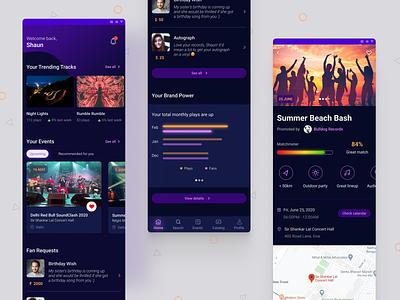 Music Manager App event app music mobile app dark mode