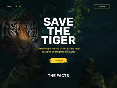 Save the Tiger Website jungle web desktop animal endangered species webdesign tiger activism donation landing page website
