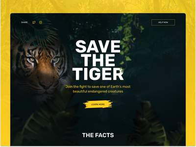 Save the Tiger Website jungle web desktop animal endangered species webdesign tiger activism donation landing page website