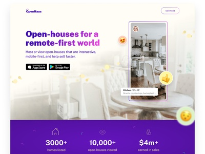 Real Estate App Landing Page Design responsive house remote concept ui mobile web landing page open house housing real estate