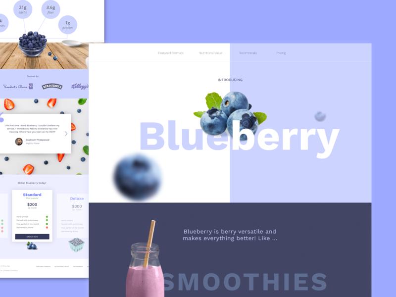 Blueberry Dribbble invisionstudio practise fruit blue fun landing page web design design challenge blueberry