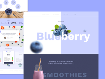 Blueberry Dribbble invisionstudio practise fruit blue fun landing page web design design challenge blueberry