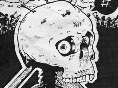 Black bones ink paper illustration