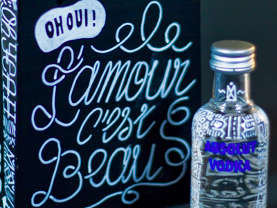 Absolut vodka Love box illustration hand made packaging
