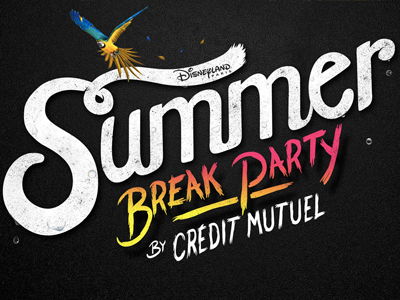 Summer Break Party (Crédit Mutuel & Disneyland Paris) advertising party logotype brand typography