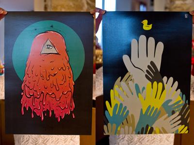 Monster & Bain de foule print vector illustrator
