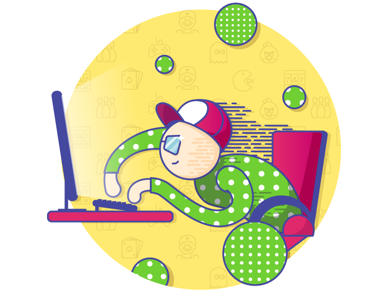 Game Developer yellow gamer glasaes computer pattern gamedesign character colorful developer game illustration art