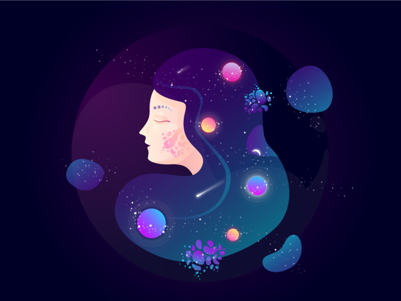 She logo girl gradient graphic universe star stars planets gamedesign space pattern galaxy design blue alien game character illustration colorful art