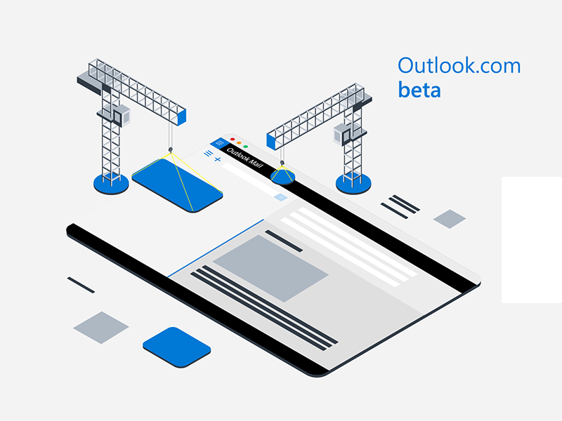 Outlook Beta beta underconstruction wip wireframe illustration isometric mail outlook microsoft