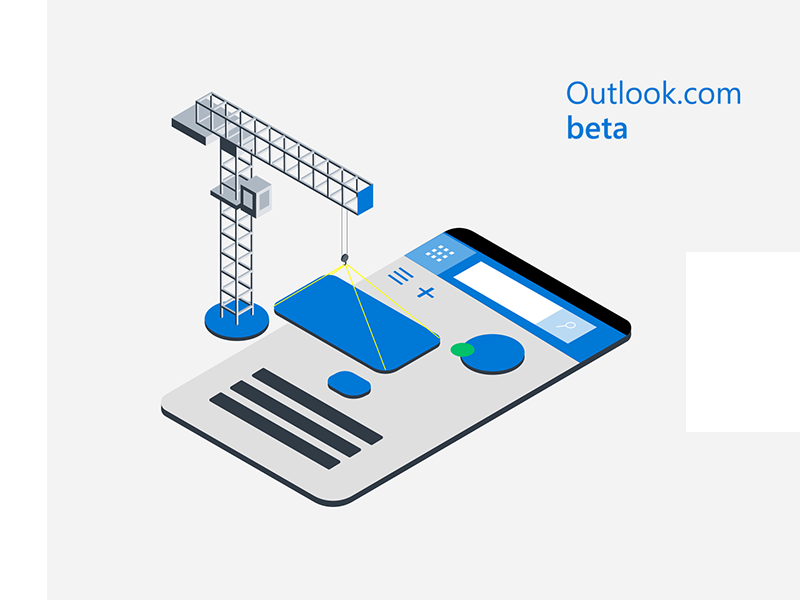 Outlook Beta mobile mobile wireframe wip underconstruction outlook microsoft mail isometric illustration beta