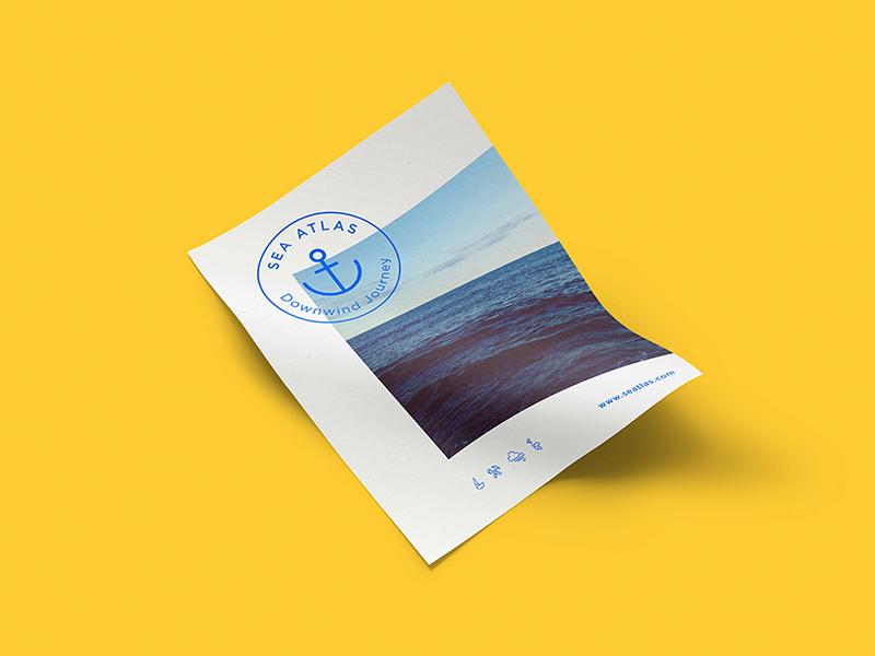 Seatlas Poster print editorial poster logo brand design corporative card sea branding