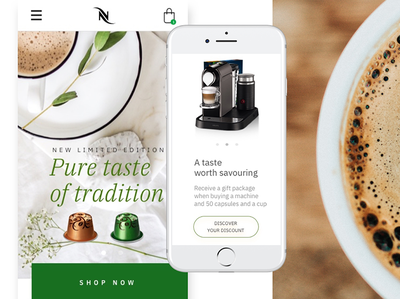 Pure taste - Nespresso Mobile iphone ios scroll interactive web cta shop product flat interface minimal clean ux mobile coffee