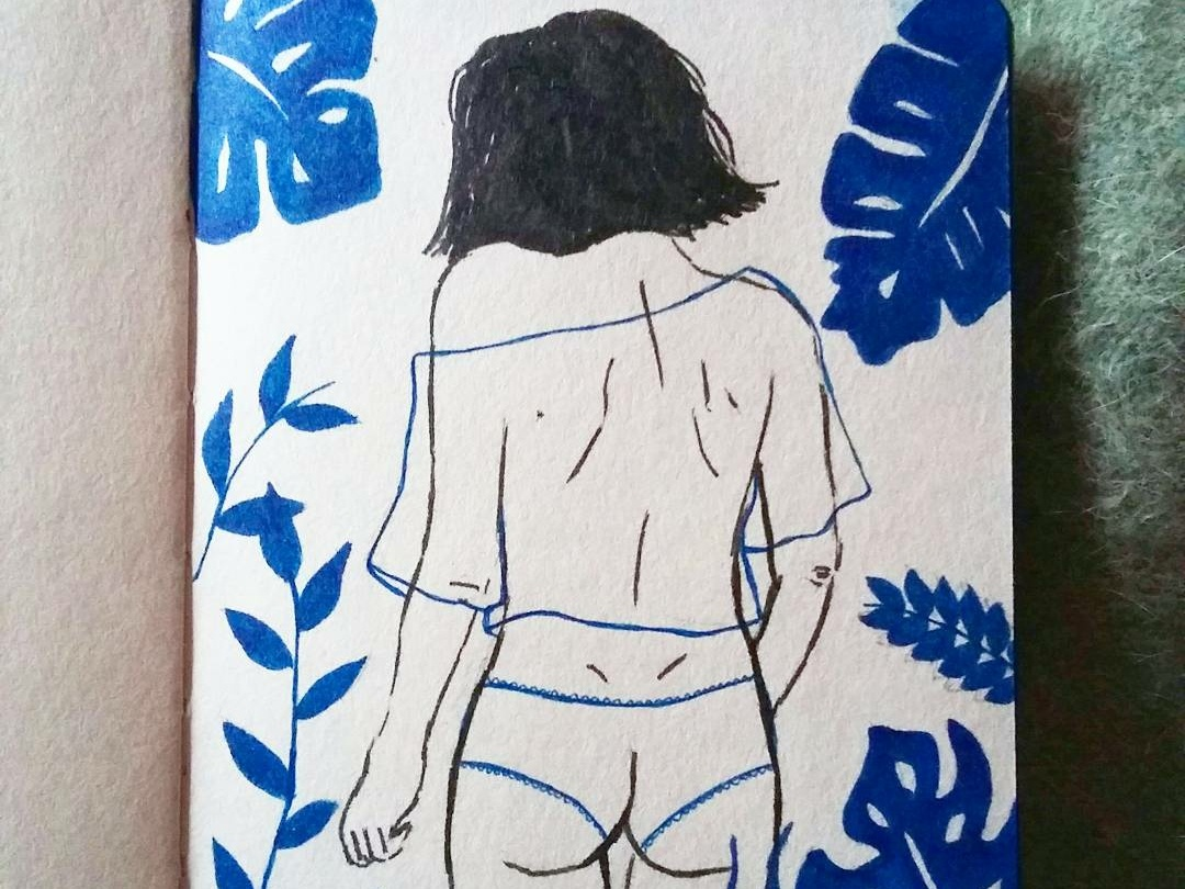 ethereal doodle sketch soft nature body ethereal intimacy nude ink blue handrawn femme girl pencil illustration
