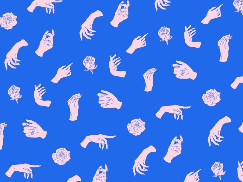 Hands pattern vector graphic handrawn blue pink patron pattern roses hands drawing illustration