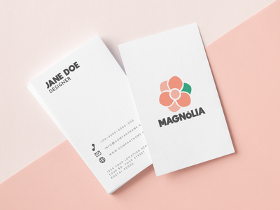 Magnolia business card brand illustration minimal logo design feminine logo business card mockup branding logotype visual id logo