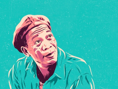 The Shawshank Redemption -  Morgan Freeman calendar poster movie design art vector color illustration morgan freeman