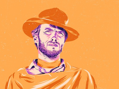 Clint Eastwood - The Good, the Bad and the Ugly portrait poster clint eastwood movie design art vector color illustration