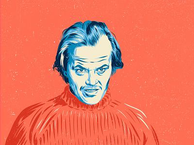 Jack Nicholson - The Shining the shining jack nicholson movie poster movie portrait design art vector color illustration