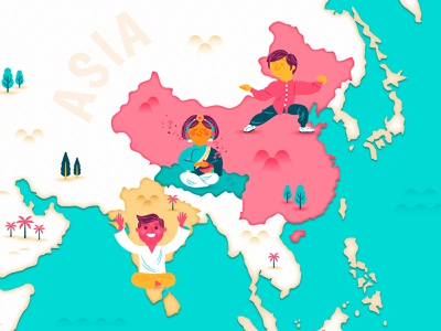 Time Well Spent - Map characters relax worldmap illustrated map map web design art vector ui color illustration