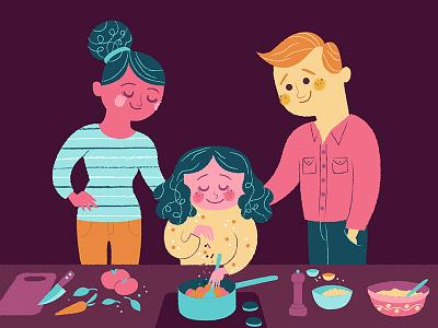 Kids Kitchen illustration children kid food cooking flat digital family cook kitchen design art vector color illustration