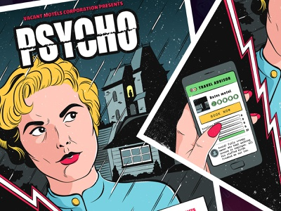 Psycho Movie Poster comic pop art horror movie poster poster movie psycho vector art ui color illustration