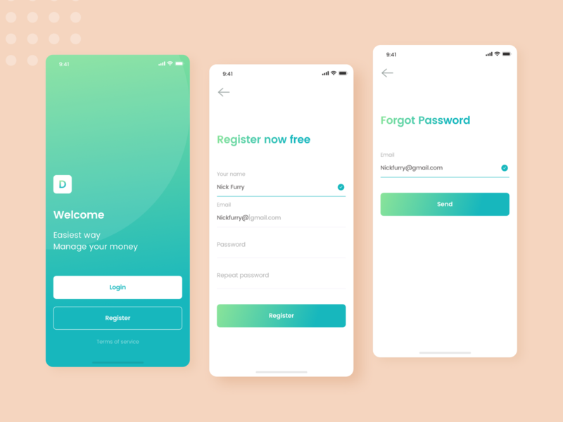 Register & Forgot Pass | Kaya : Wallet Apps android ios wallet app flower yellow green neat clean apps forgot password register saving money app concept interface ux design simple ui