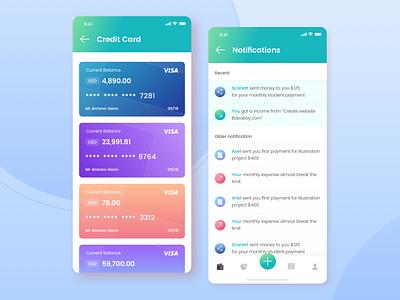 Notif & Credit Card | Kaya : Wallet Apps sebo iconspace designspace ui8 balance visa credit card notification appstore money saver money wallet apps design apps ux interface design simple ui