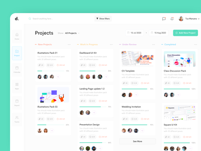 Project Kanban Style dashboard design slack trello asana teams report apps calendar home management team management projects kanban style kanban dashboard interface ux simple design ui