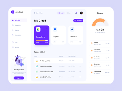 JenxCloud - File Management Dashboard yellow orange purple neat clean minimalism interface ux simple illustration design file cloud dashboard design dropbox drive google drive file manager file management dashboard