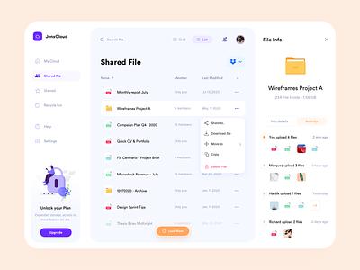 JenxCloud - Shared File Screen ux simple design ui minimalism file storage file manager one drive google drive dropbox orange purple yellow dashboard design dashboard ui dashboard file management