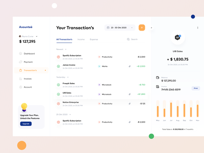 Axounteè - Transaction Dashboard minimalism designspace sebo wallet fintech money finance concept ux ui account invoices transaction interface clean simple dashboard design dashboard