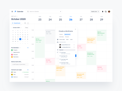 Calendar Dashboard b2c b2b product design crm saas branding interface ux ui design simple concept thohari ozi minimalism clean dashboard calendar calendar dashboard