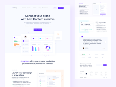 Hashtag - Social Media Landing Page interface concept clean design clean ui simple apps webdesign saas landing page landingpage converter hashtag brand content creator content design content viral saas social media